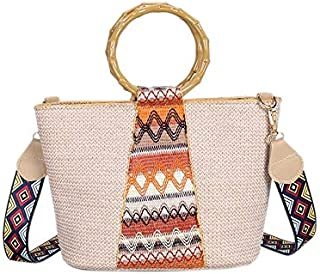 TOOGOO Ethnic Style Ring Hand-Woven Straw Bag Geometric Pattern Shoulder Strap Shoulder Bag Messenger Bag (Blue)
