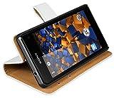 mumbi Echt Leder Bookstyle Hülle kompatibel mit Sony Xperia Z1 Compact Hülle Leder Tasche Hülle Wallet, Weiss