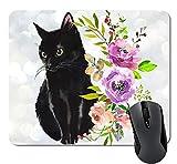Schwarze Katze Blumen Aquarell Maus Pad Nette Katze Liebhaber Geschenk Schreibtisch Zubehör Dekor für Frauen Computer Mousepad Schulbedarf,9.6x8.8 inch