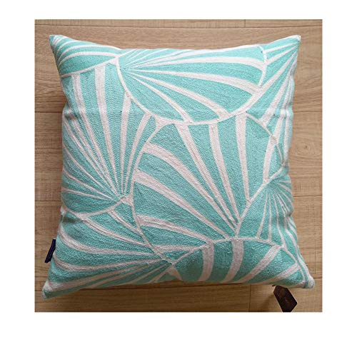 Aitliving Embroidered Throw Pillow Cover Gagliano Art Deco Fans Abstract Geometric Circles Lumbar Pillow Cushion Shell Mint Yucca 1pc 18