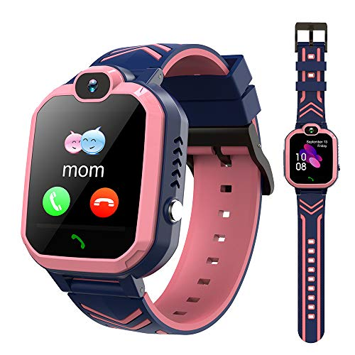 LTAIN Kids Smart Watch Waterproof Phone Smartwatch for Children Anti-Lost GPS Tracker Phone Watch with 1.44 inch Touch Screen SOS Canera Timer Game Birthday Gift for Boys and Girls (Baby Pink)