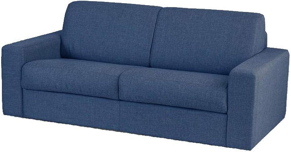 Totò piccinni, divano letto matrimoniale, imbottito con braccioli, in tessuto blu 6N-1IHF-XCCXB