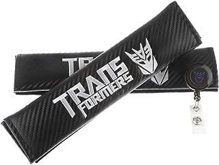 Clavel Autopartes 2pcs Car Seat Belts Covers Padding Carbon Fiber Leather Belt Shoulder Sleeve + 1pc Retractable Badge Reel with Metal Belt Clip (Transformers)