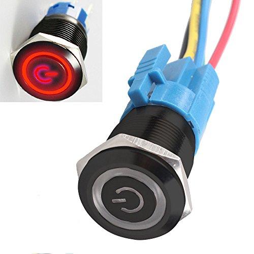 Supmico boîtier noir 16mm symbole de puissance Rouge LED lumière lampe Oeil d'ange 12V bouton poussoir voiture interrupteur à bascule en métal Prise de courant