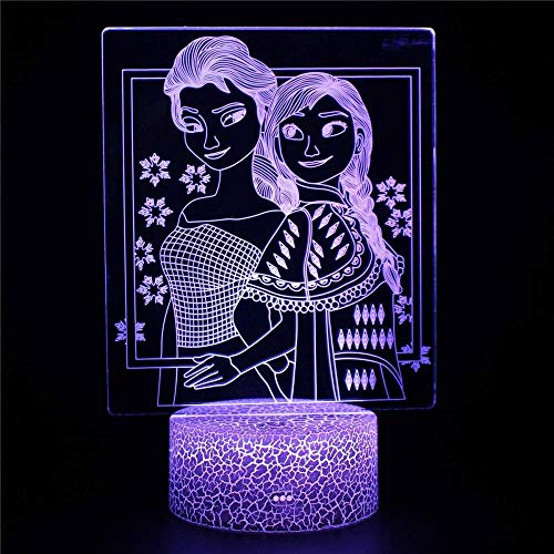 Luz de noche LED de dinosaurio 3D de Frozen para niños, 16 colores cambiantes, lámpara de escritorio para niños, regalos de Navidad, cumpleaños decoración del hogar