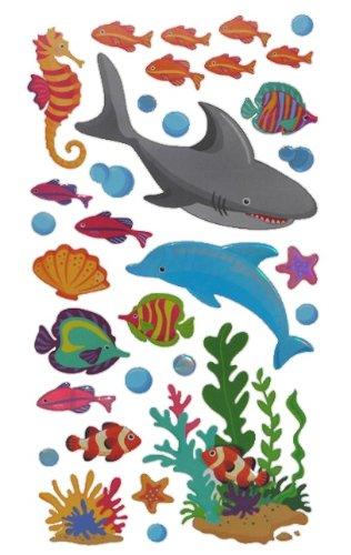 alles-meine.de GmbH 27 TLG. Set XL Wandtattoo / Fensterbild / Sticker - Fische Fisch Koi Muscheln - Wandsticker Aufkleber Unterwasser Unterwasserwelt Karpfen Seepferdchen Clownfi..