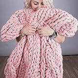 GLITZFAS Manta de Lana de Punto Grueso,Hecha a Mano, para el sofá, para Mascotas, Suave de Punto para Cama o como decoración (Rosa,120 * 180cm)
