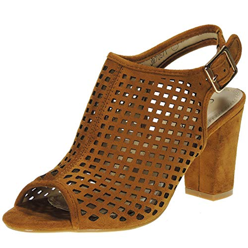 GUAPÍSIMA JM7057T Sandalia Mujer Importación Zapato Tacón Ancho 8CM Antelina Punta Abierta Hebilla Camel Talla 37