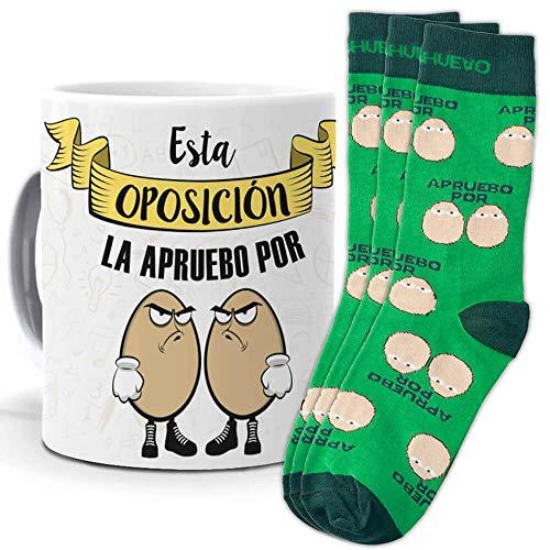 mundohuevo Taza y trio de calcetines, originales y personalizados, ideal regalo estudiantes y opositores. Esta oposición la apruebo por huevos. 1 calcetin gratis por el que se te pierde