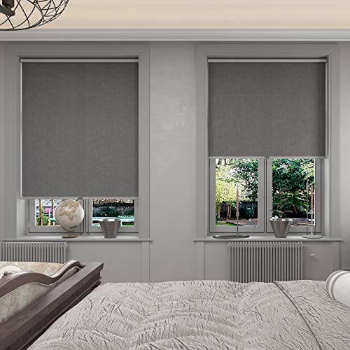 Changshade Cordless & Blackout Roller Shade, Room Darkening Rolled Up Shade, Fabric Window Blind, for Light Blocking /Sun Protection, 33 inches Wide, Gray ROL33GY72A