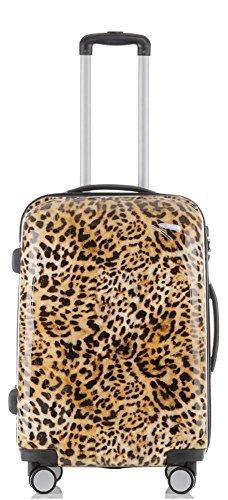 Reise Koffer Trolley mit Polycarbonat ABS Hartschale und Motiv BB (3: 70 Liter - Gr. L, Leopard)
