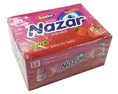Nazar - Goma para masticar sin azúcar con sabor a fresa (100 unidades)