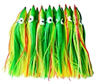 "10pcs 7"" Bright Color Soft Octopus Squid Skirts Trolling Fishing Lures Baits for Saltwater Fishing 18cm (Green)"