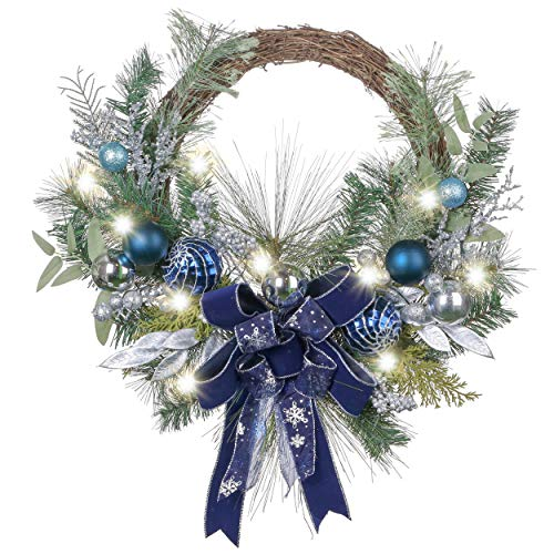 Valery Madelyn Pre-Lit 24 Inch Winter Wishes Blue Silver Christmas Wreath with Ball Ornaments, Ribbons and Green Leaves, Battery Operated 20 LED Lights