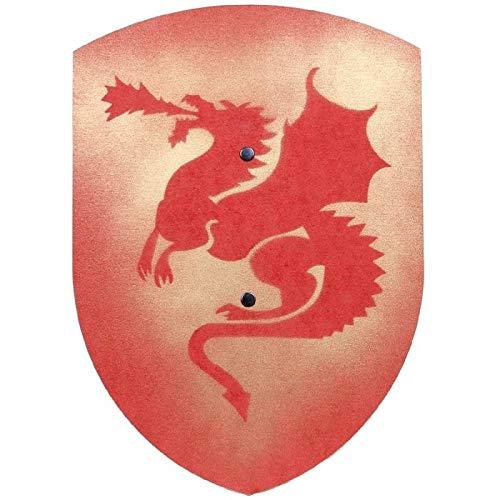 VAH Escudo DE Madera Disfraz Caballero Medieval Modelo DRAGN Rojo Forma Curva 37 cm Largo
