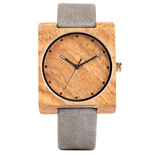 ZJQQS Holzuhren Minimalistischen quadratischen Zifferblatt Holz Uhr für Frauen Quarzuhr weiblichenLederarmbanduhr Elegante Business-Damen-Uhren-blau