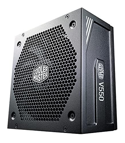 Cooler Master Alimentatore V550 Gold V2, Presa EU, 550 W, 80 PLUS Gold, Completamente Modulare, Alimentatore ATX, Ventola FDB Silenziosa 135mm, Modalità Semi-Fanless, Black Edition