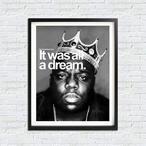 WPFZH Canvas Decorative Painting Poster Art Prints Wall Decor Biggie Smalls Crown It was All a Dream Canvas Painting Wall Picture-70x100cm