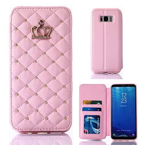 Miagon Diamante Portafoglio Cover Custodia per Samsung Galaxy S8 Plus,Corona Rivetto Design PU Pelle Flip Protettiva Case Caso Libro con Porta Carte Stand Supporto,Rosa