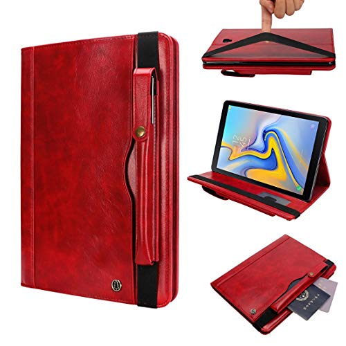 YANCAI Case Cover Horizontal Flip Leather Case for Galaxy Tab A T590 10.5 inch, with Double Card Slots & Pen Slots & Holder & Wallet & Photo Frame(Black) (Color : Red)