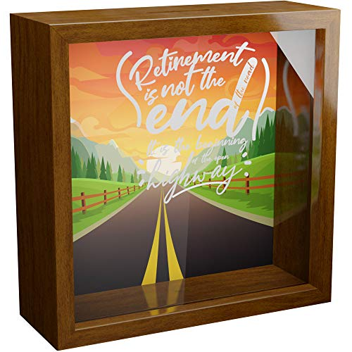 Retirement Gifts for Women   6x6x2 Memorabilia Shadow Box with Glass Front   Wooden Keepsake for Wall Decor   Gift for Retired Women   Fun Memory Box   Special to Collect Memories