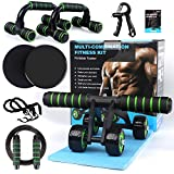 7-in-1 Ab Abdominal Exercise Roller Set with Push-Up Bar, Skipping Rope and Knee Pad - Home Workout Equipment for Abdominal Core Strength Training Workout - Ab Trainer Fitness Equipment for Home Gym