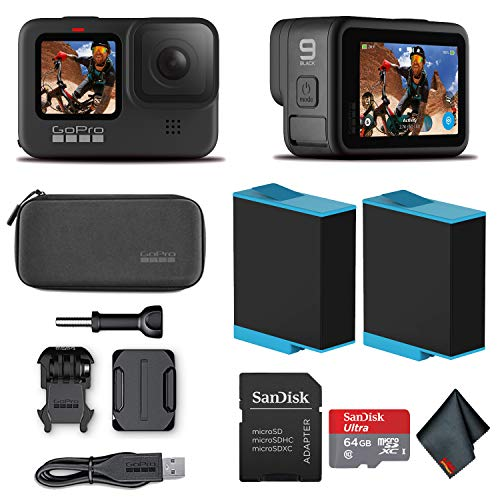 GoPro HERO9 Black - Waterproof Action Camera with Front LCD and Touch Rear Screens, 5K HD Video, 20MP Photos, 1080p Live Streaming, Stabilization + Sandisk 64GB Card and Extra Battery
