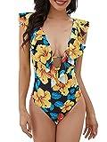 Voqeen Mujer Una Pieza con Cuello en V Traje de Baño de Control de Barriga Monokini con Cordones y Volantes Trajes de Baño de Playa
