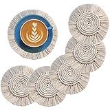 Faluckyy 6PCS Handmade Macrame Coasters Set,Coffee Drink Beer Cup Mat Heat Resistant Table Cover Boho Table Decoration (Quastenuntersetzer)