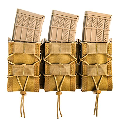 High Speed Gear MOLLE Triple TACO Shingle, Holds 3 Rifle Magazines, Coyote Brown