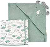 Carter's Just One You mabe Baby Boys' Dino Bath Towel 2 Piece Set - Green -