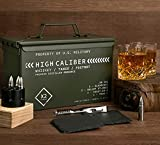 Whiskey Glasses And Steel Stones Set In Unique Tactical Box Display | Ideal Groomsmen Gifts Whiskey Gifts For Men | Bourbon Whiskey Cocktail Glasses, Slate Coasters and Tongs | Fathers Day Gift