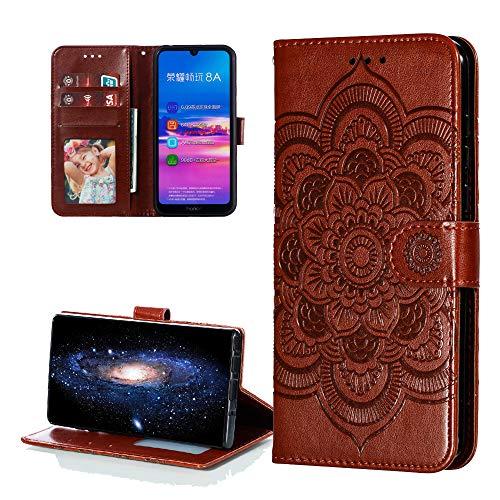 COTDINFOR Etui für Huawei Y6 2019 Hülle PU Leder Cover Schutzhülle Magnet Tasche Flip Handytasche im Bookstyle Stand Kartenfächer Lederhülle für Huawei Honor 8A / Y6 2019 Brown Mandala LD.