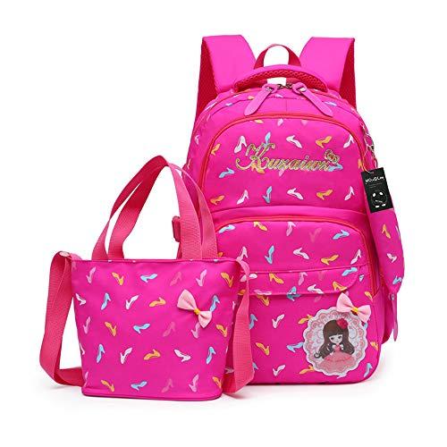 MCUILEE Set von 3 Mädchen Niedliche BuchTasche/Schultaschen/Rucksäcke /Schulrucksäcke /Kinderbuchtasche Mädchen Teenager + Mini handtasche + Federmäppchen(Rose Rot)