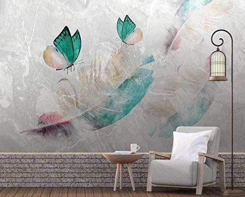 XHXI Pluma Mariposa Marmoleado Papel pintado no tejido Papel tapiz 3D Decoración de pared Murales Sala de estar papel Pintado de pared tapiz Decoración dormitorio Fotomural-300cm×210cm