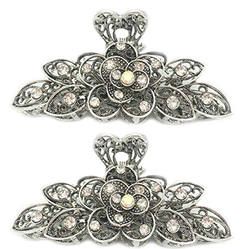 2 Pcs Women Retro Chic Rhinestone Alloy Fancy Hair Claw Jaw Clips Pins -Vintage Flowers Hair Catch Updo Grip Hair Accessories for Thick Hair