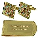 Select Gifts Juego de Mesa Serpientes escaleras Tono Oro Gemelos Money Clip Grabado Set de Regalo