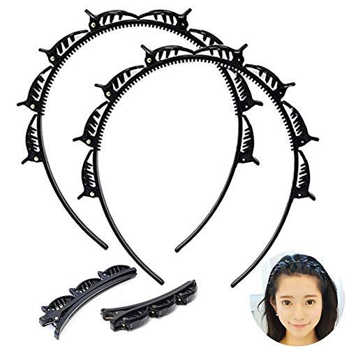 SUNSK Haarbänder mit Clips Frisurenhilfe Haarreif mit Klammern Doppelknall Frisur Haarnadel Haarschmuck Stirnbänder Haarband Styling für Frauen 4 Stück