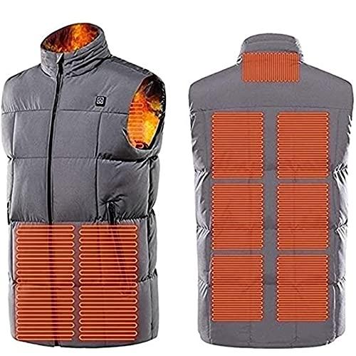 SKYWPOJU Gilet Riscaldato Gilet riscaldato Gilet riscaldante Elettrico Slim Fit in Inverno Caldo per la Caccia all'escursionismo in Campeggio all'aperto (Color : Gray, Size : XL)