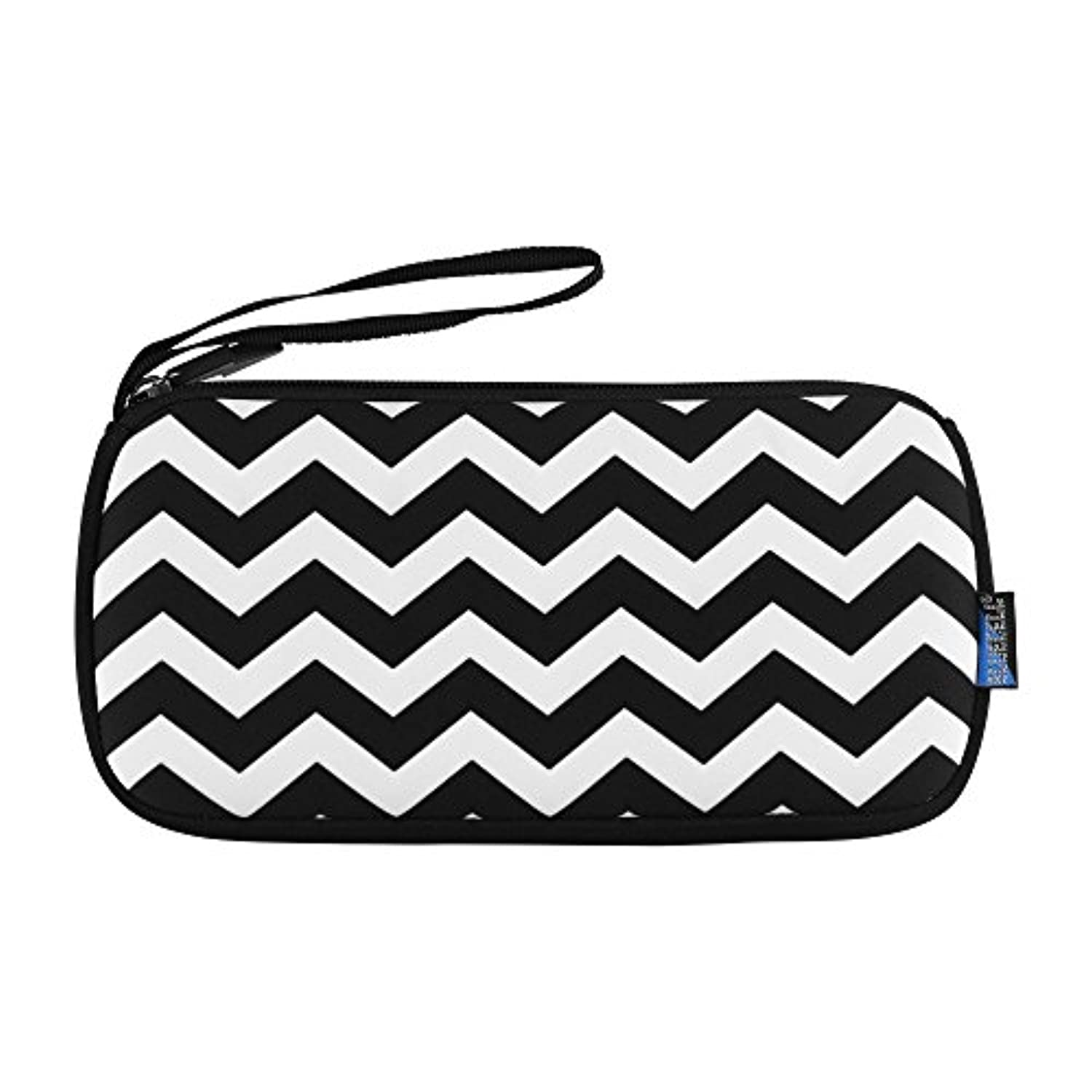 Bluecell 8.6inches Multipurpose Neoprene Pencil Case Pen Pencil Bag Pouch Holder, Makeup Case Cosmetic Bags (Black/White)