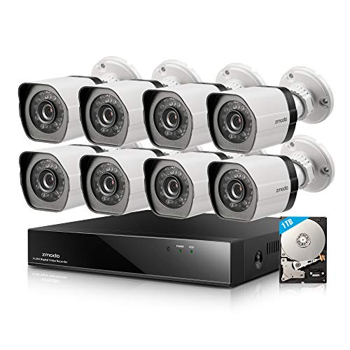 Zmodo 8CH HDMI NVR w/1TB HDD 8Pack 720P Security Camera System w/Repeater...