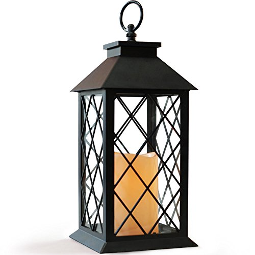 Bright Zeal 14' Vintage Candle Lantern with LED Flickering Flameless Candle (Black, 6hr Timer) - Tabletop Lantern Decorative Outdoor - Candle Lantern Battery Operated - Hanging Lantern for Gazebo BZX