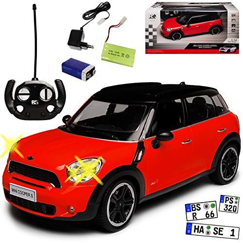 Unbekannt Mini Cooper Countryman S Rot 1. Generation 2010-2017 - Komplettset mit Akku - RC Funkauto - mit Beleuchtung - sofort startklar - 1/14 Modell Auto