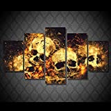 Canvas HD Print PaintingPictures 5 Piece/Pcs Skull Fire LandscapeModern Home Decor Living Room