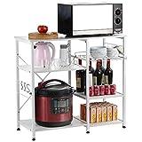 Grandma Shark Baker's Rack,küchenregal standregal, mikrowellenhalter,Utility Workstation Stand,metallregal aus Holz und Stahl