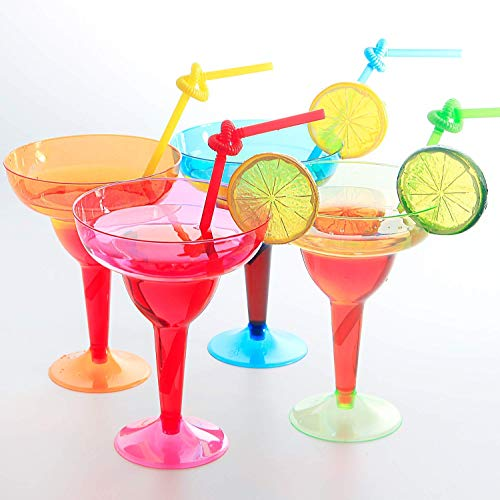 Set of 36pcs Plastic Margarita Glasses, Disposable Party Cups, Colorful Mexican Cocktail Party Decorations, 11oz,Disposable Neon Cups Assorted Four Color, Green, Blue, Pink, Orange, Supernal