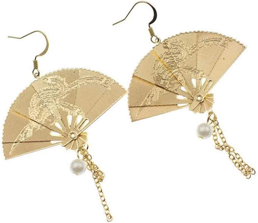 Chinese Style Fan Opening large release sale Soldering Shaped Eardrops Han Earrings Clothes Qip Retro