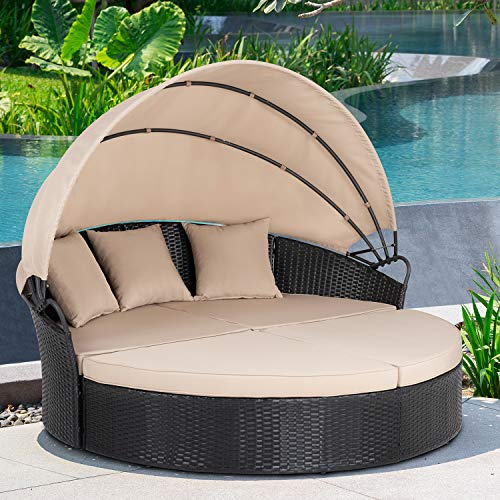 JY QAQA Patio Furniture Outdoor Lawn Backyard Poolside Garden Round Daybed with Retractable Canopy Wicker Rattan Sectional Round Sofa, Seating Separates Cushioned Seats