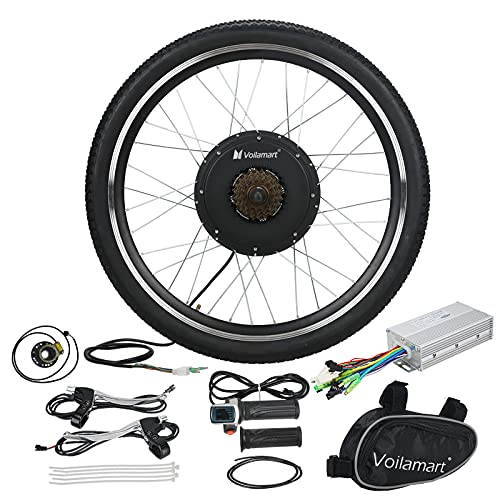 Voilamart E-Bike Conversion Kit 26' Rear Wheel 48V 1000W Electric Bike Conversion Kit Electric Bicycle Kit Cycling Hub Motor with Intelligent Controller and PAS System for Road Bike