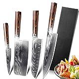 Damasco Knives Set DV8 67 Capa Chef Cuchillo Cuchillo de cocina japonés Damasco Cuchillos de acero inoxidable Ultra Sharp Pakka Mango Juegos de cuchillos de cocina (Color : Value pack 4)